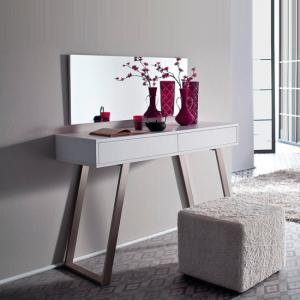 Berry Console Table In Matt White With Brushed Nickel Legs_2
