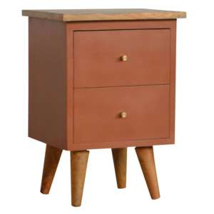 Berth Wooden Bedside Cabinet In Brick Red Painted And Oak