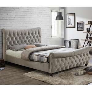 Berthold Super King Size Bed In Warm Stone With Dark Wood Feet