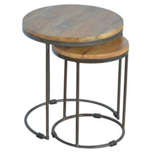 Bethel Wooden Set Of 2 Nesting Tables In Oak Ish With Iron Base