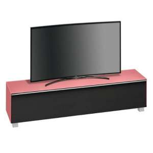 Beton Large TV Stand In Hibiscus Matt Glass And Black Fabric