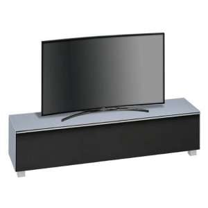 Beton Large TV Stand In Sky Blue Matt Glass And Black Fabric