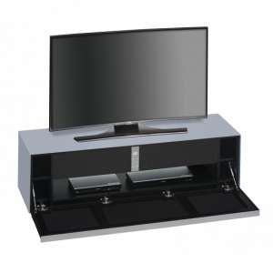 Beton TV Stand In Sky Blue Matt Glass And Acoustic Black Fabric