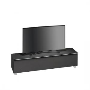 Beton Large TV Stand In Black Matt Glass Acoustic Fabric