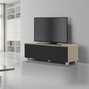 Beton Large TV Stand In Sand Matt Glass Acoustic Black Fabric