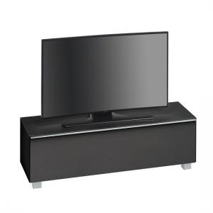 Beton TV Stand In Black Matt Glass And Acoustic Fabric