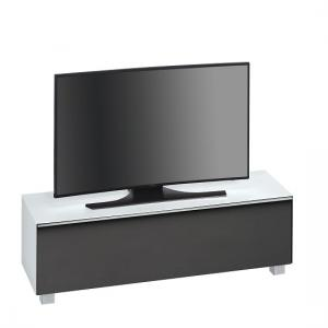 Beton TV Stand In White Matt Glass And Acoustic Black Fabric