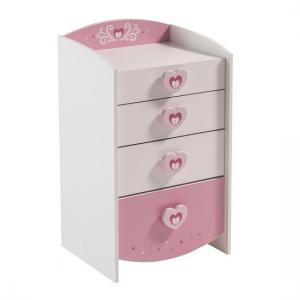 Betsy Chest Of Drawers In Pearl White And Pink With 4 Drawers