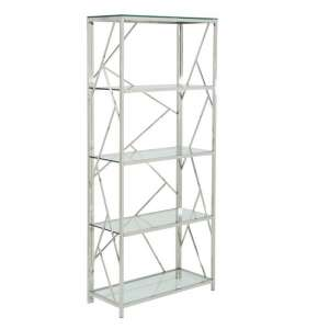 Betty Modern Bookcase In Clear Glass With Silver Frame