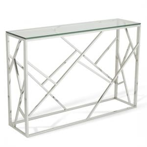 Betty Glass Console Table With Polished Stainless Steel Base