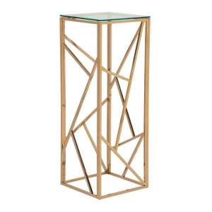 Betty Modern Pedestal In Clear Glass With RoseGold Frame