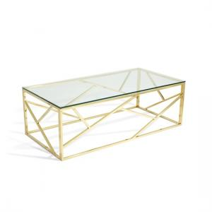 Betty Glass Coffee Table In Clear With Gold Base Frame