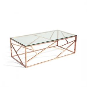 Betty Glass Coffee Table In Clear With Rose Gold Base Frame