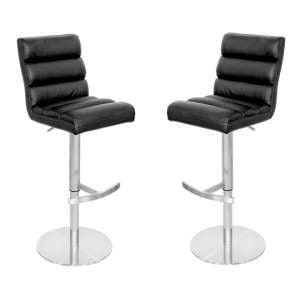 Bianca Black Leather Bar Stool In Pair