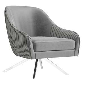 Bianca Velvet Fabric Swivel Lounge Chair In Silver Grey