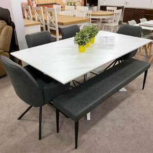 Bianco Dining Table Set With 4 Uno Chairs And Darcy Dining Bench