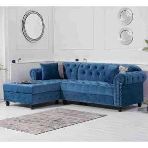 Bicasto Velvet Left Handed Chaise Corner Sofa In Blue