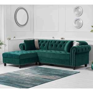 Bicasto Velvet Left Handed Chaise Corner Sofa In Green