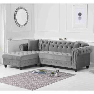 Bicasto Velvet Left Handed Chaise Corner Sofa In Grey