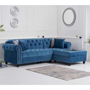 Bicasto Velvet Right Handed Chaise Corner Sofa In Blue