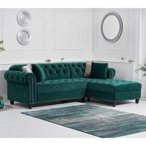 Bicasto Velvet Right Handed Chaise Corner Sofa In Green