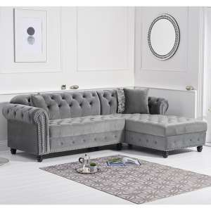 Bicasto Velvet Right Handed Chaise Corner Sofa In Grey