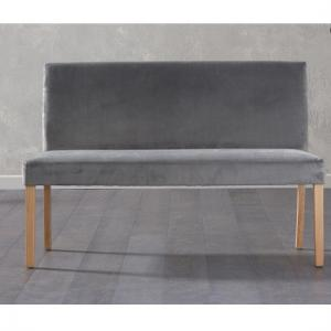 Birlea Dining Bench Large In Grey Plush Velvet With Back Rest