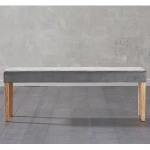Birlea Dining Bench Large In Grey Plush Velvet With Oak Legs