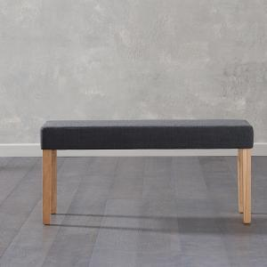 Birlea Fabric Dining Bench Small In Black With Oak Legs