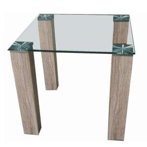 Bizet Glass End Table In Clear With Light Oak Effect Legs
