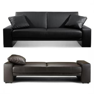 Supra Sofa Bed In Faux Leather Black