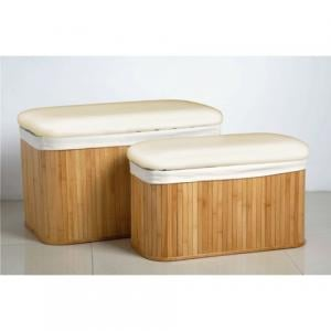 Set Of 2 Natural Bamboo Storage Bench