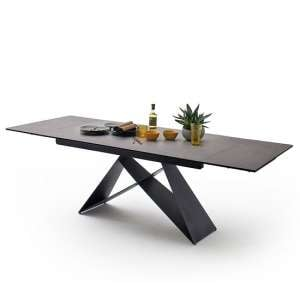 Blaine Glass Extendable Dining Table In Anthracite