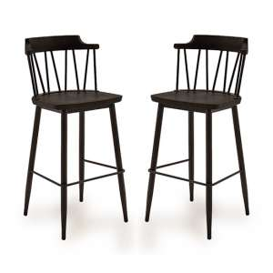 Blake Black Elm Wooden Bar Chair With Steel Legs In Pair