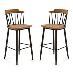 Blake Natural Elm Wooden Bar Chair With Steel Legs In Pair