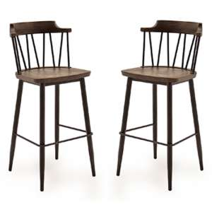 Blake Rustic Elm Wooden Bar Chair With Steel Legs In Pair