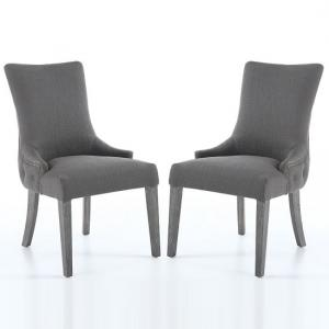 Blake Fabric Dining Chair In Grey With Wooden Legs In A Pair
