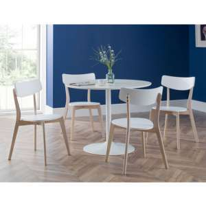 Blanco Dining Set In White With 4 Casa Chairs