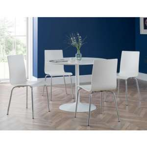 Blanco Dining Set In White With 4 Mandy White Chairs