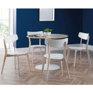 Blanco Dining Set In White And Oak With 4 Casa Chairs