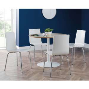 Blanco Dining Set In White And Oak With 4 Mandy White Chairs