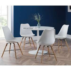 Blanco Round Dining Set In White With 4 Kari White Chairs