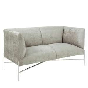 Blaze Fabric 2 Seater Sofa In Slate And Polished Stainless Steel