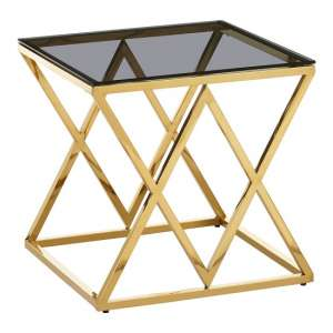 Bleadon Black Glass End Table With Stainless Steel Frame