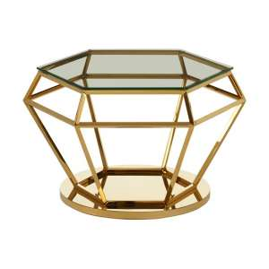 Bleadon Glass Diamond Shape Side Table In Rich Gold Finish