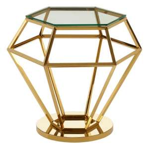 Bleadon Glass Diamond Shape Small Side Table In Rich Gold Finish