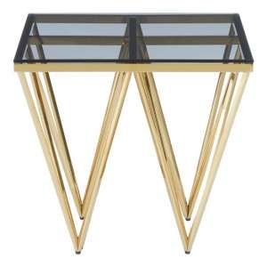 Bleadon Glass End Table With Gold Finish Spike Design Legs