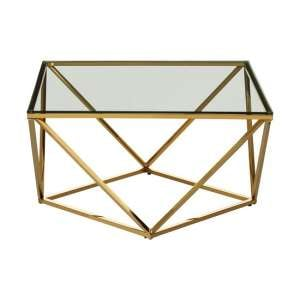 Algorab Glass Side Table With Gold Finish Twist Base Design