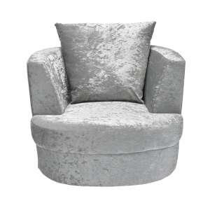 Bliss Fabric Small Swivel Tub Chair In Silver