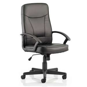 Blitz Leather Executive Office Chair In Black With Arms